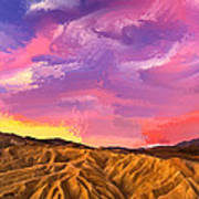 Sunrise At Zabriskie Point Art Print