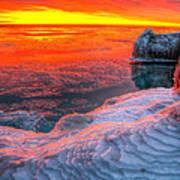 Sunrise Chicago Lake Michigan 1-30-14 Art Print