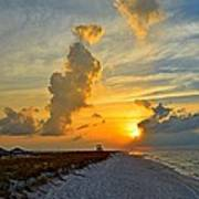 Sunrise Colors Over Navarre Beach With Stormclouds Art Print