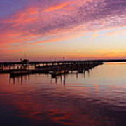 Sunrise Dock Over Lake Huron Art Print
