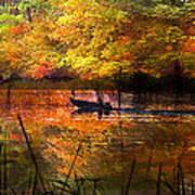 Sunrise Fisherman Moving Slowly  Art Print