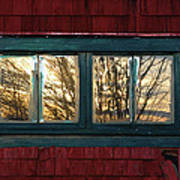 Sunrise In Old Barn Window Art Print