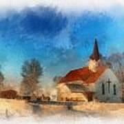 Sunrise On A Rural Church 03 Art Print