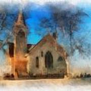 Sunrise On A Rural Church 04 Art Print