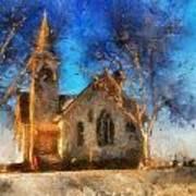 Sunrise On A Rural Church 12 Art Print