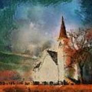 Sunrise On A Rural Church 18 Art Print