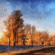 Sunrise On A Rural Country Road Photo Art 02 Art Print