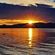 Sunrise On Yellowstone Lake Art Print