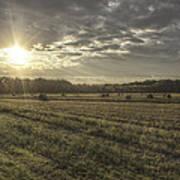 Sunrise Over Hayrolls Art Print