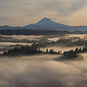 Sunrise Over Mount Hood And Sandy River Art Print