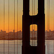 Sunrise Over San Francisco Bay Through Golden Gate Bridge Art Print