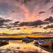 Sunrise Over The Old Salmon Boats Art Print