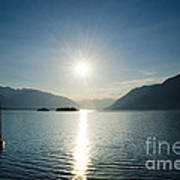 Sunrise Reflected Over An Alpine Lake Art Print