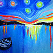 Sunrise At The Lake - Van Gogh Style Art Print