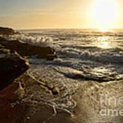 Sunrise Waves On The Rocks By Kaye Menner Art Print