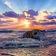 Sun's Rays By The Old Coral. Art Print