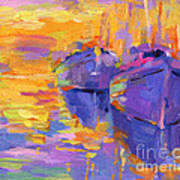 Sunset And Boats Art Print