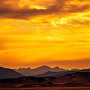 Sunset And Smoke Covered Mountains Art Print