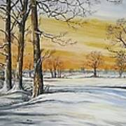 Sunset And Snow Sold Art Print