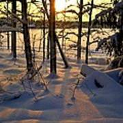 Sunset And Snow Art Print