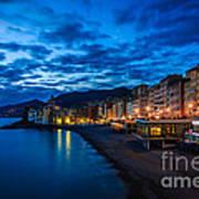 Sunset At Camogli In Liguria - Italy Art Print