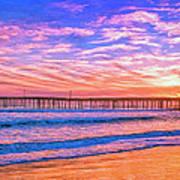 Sunset At Cayucos Pier Art Print