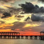 Sunset At Clam Creek Fishing Pier Art Print