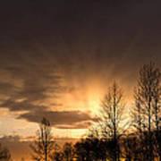 Sunset At Columbia River Gorge Oregon Art Print