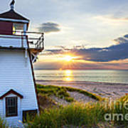 Sunset At Covehead Harbour Lighthouse Art Print by Elena Elisseeva