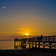 Sunset At Crystal Beach Pier Art Print