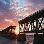 Sunset At Flagler Bridge Art Print