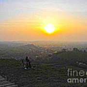 Sunset At Glastonbury Tor Art Print