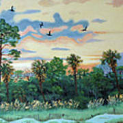 Sunset At Hunting Island Art Print