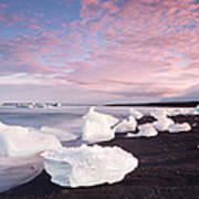 Sunset At Ice Beach Art Print