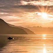 Sunset At Lyngenfjord Art Print