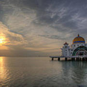 Sunset At Malacca Straits Mosque Art Print