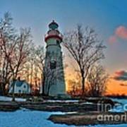 Sunset At Marblehead Lighthouse Art Print