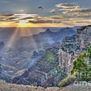 Sunset At Northern Rim Of The Grand Canyon Art Print
