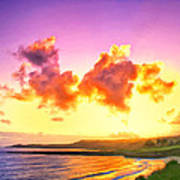 Sunset At Oneloa Beach Maui Art Print