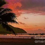 Sunset At The Beach - Puerto Lopez - Ecuador Art Print