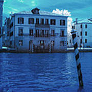 Sunset At The Hotel Canal Grande Venice Italy Near Infrared Blue Art Print