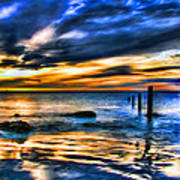 Sunset At Washed Out Pier Art Print