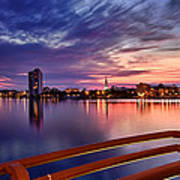 Sunset Balcony Of The West Palm Beach Skyline Art Print by Debra and Dave Vanderlaan