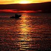 Sunset Boaters Art Print