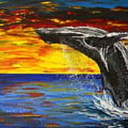 Sunset Breach Art Print