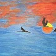 Sunset Cranes Art Print