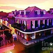 Sunset From The Balcony In The French Quarter Of New Orleans Art Print