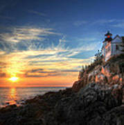 Sunset Glow At Bass Harbor Art Print