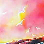 Sunset In Costa Brava Art Print