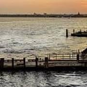 Sunset In Manhattan Pier Art Print